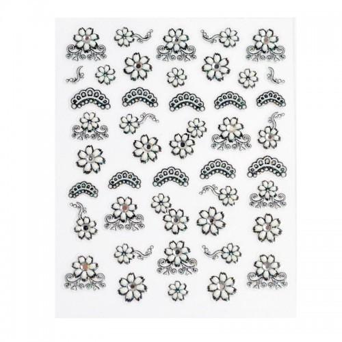 Stickers Fleurs blanche et dentelle