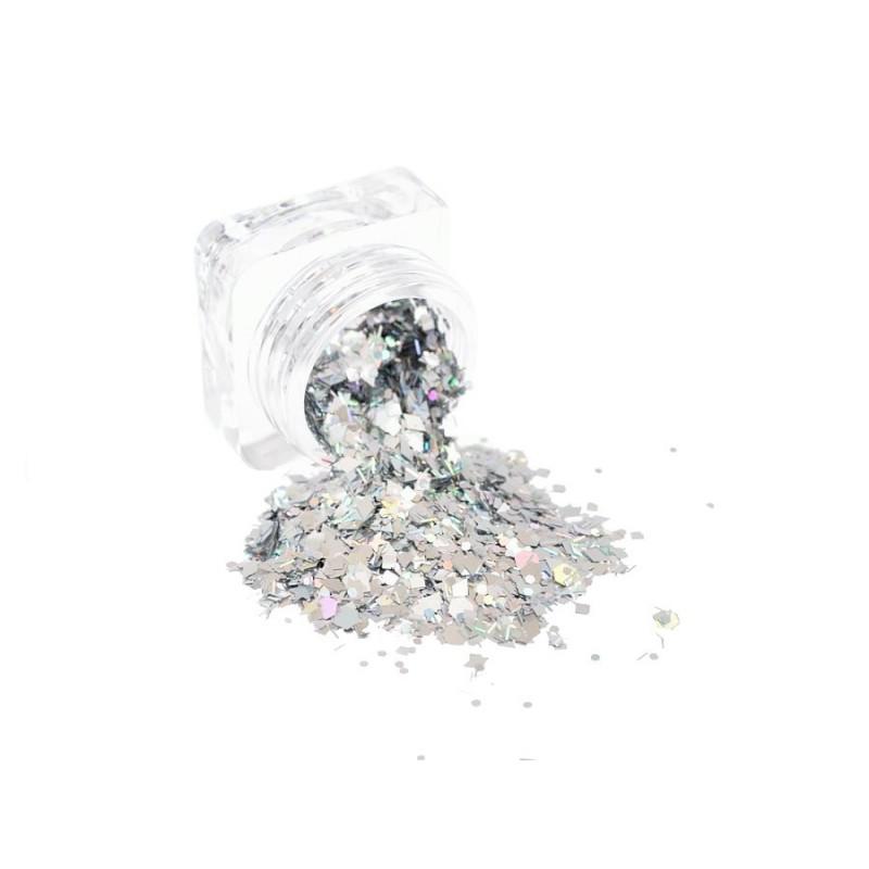 Pailletten mix silber holographisch
