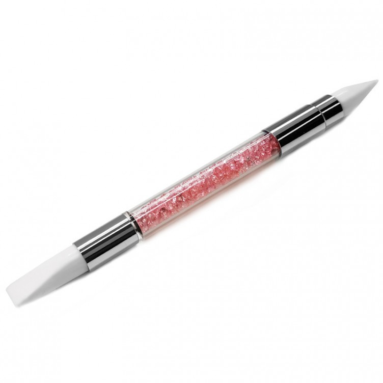 Pinceau Silicone double strass rose
