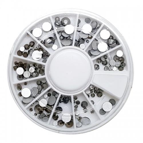 Facetten Strass Silberschwarz verschiedene Grösse