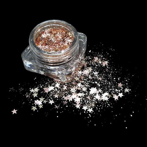 Paillettes étoile or rose