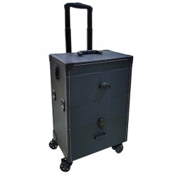 Beauty Case Luxus Trolley Schwarz Spiegel
